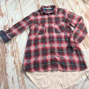 Hint of Mint womens plaid button up shirt-red-sz L